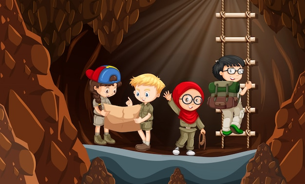 Scouts exploring the cave