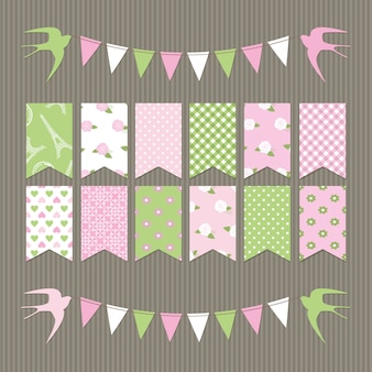 Scrapbook bunting flags.