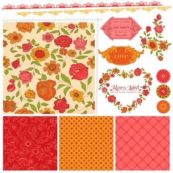 スクラップブックのデザイン要素オレンジ色の花