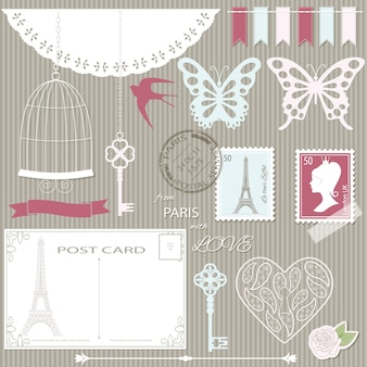 Scrapbook design elements and silhouettes set.