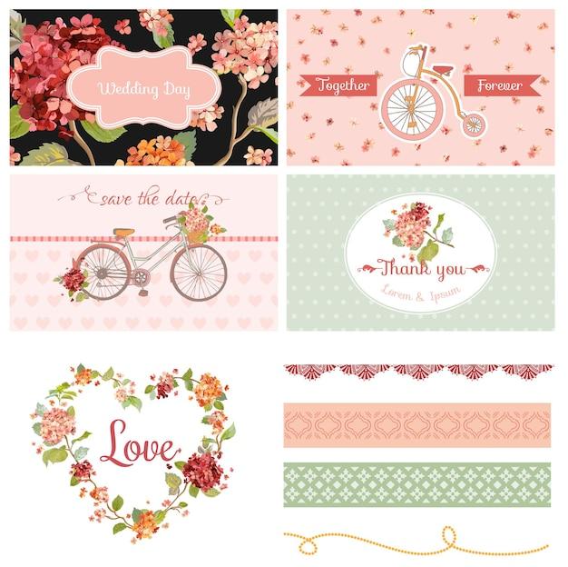 Scrapbook design elements wedding hortensia flowers and bicycle