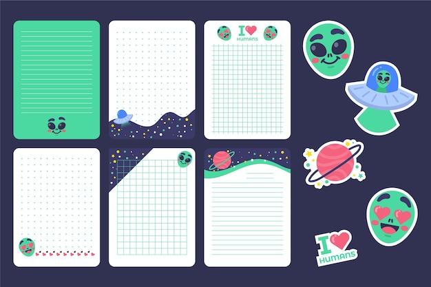 スクラップブックのノートとカード