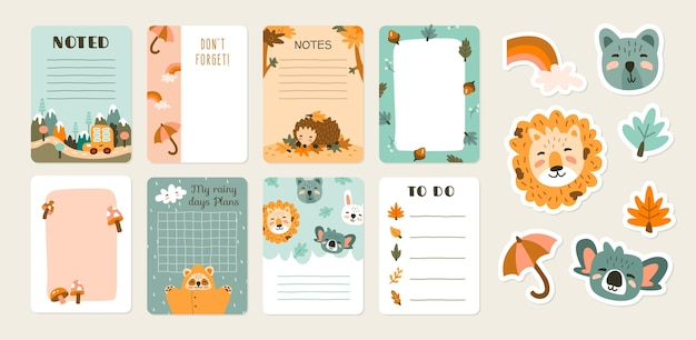Scrapbook notes and cards with animals