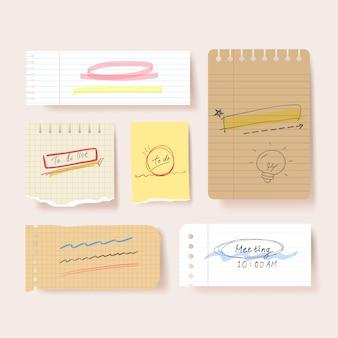 スクラップブックペーパー。空白のメモ帳ページの図。テープで壁に接着紙