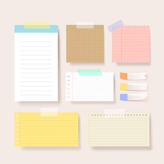 Scrapbook papers. blank notepad pages  illustration.paper glued to wall with tape