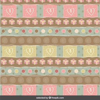 Scrapbook pattern with flowers and hearts