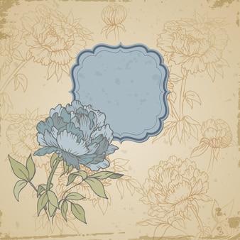 スクラップブックのレトロな背景や花とフレームのグリーティングカード