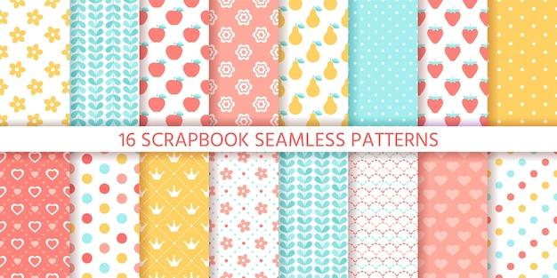 スクラップブックのシームレスなパターン。 。かわいい背景。テクスチャを水玉、花、果物、ハート、葉で設定します。レトロなプリント。パステルカラーのイラスト。トレンディな包装紙。シックな背景。