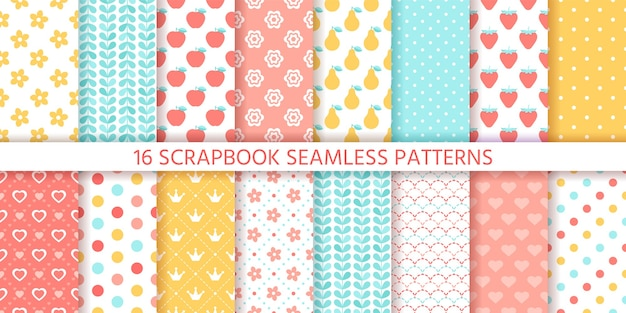 Scrapbook seamless pattern. . cute backgrounds. set textures with polka dots, flowers, fruits, hearts and leaves. retro prints. pastel colors illustration. trendy packing papers. chic backdrops.