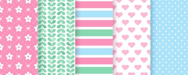 Scrapbook seamless pattern. geometric pastel set