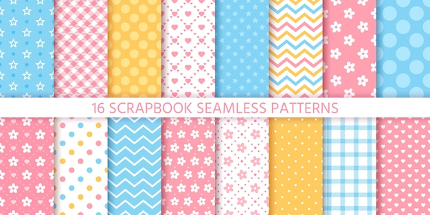 Scrapbook seamless pattern.  geometric textures set. pastel colors illustration.