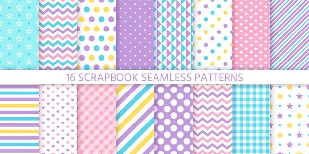 スクラップブックのシームレスなパターン。幾何学的な流行のパステルカラー