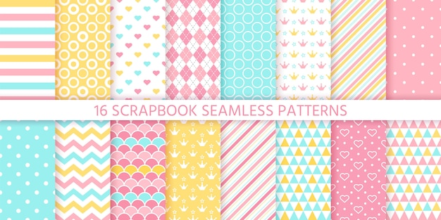 Scrapbook seamless pattern.  illustration. geometric pastel backgrounds.