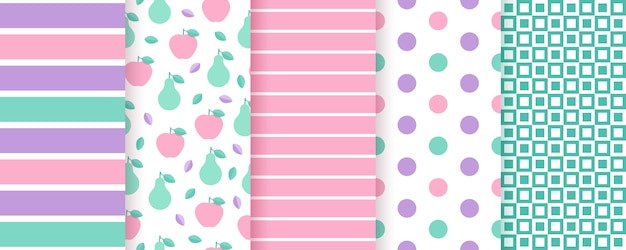 Scrapbook seamless pattern. trendy prints with stripes, polka dot, fruits, check.  illustration