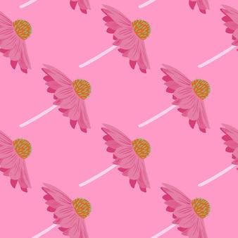 ピンクの創造的なガーベラの花とスクラップブックのシームレスなパターン