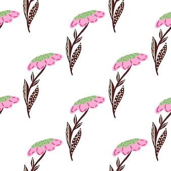 ピンクのフィールドの花の要素が印刷されたスクラップブックのシームレスなパターン