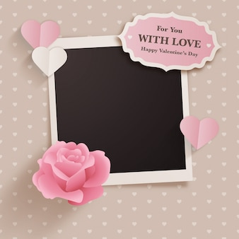 Scrapbook style valentine's day design with polaroid