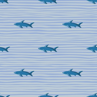 Scrapbook zoo seamless pattern with shark silhouettes print. striped background. blue colored backdrop. designed for fabric design, textile print, wrapping, cover. vector illustration.