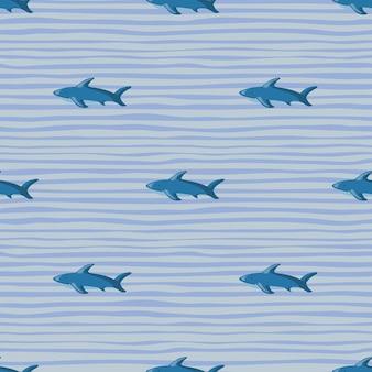 Записки зоопарк бесшовные модели с печатью силуэты акул. полосатый фон. фон синего цвета. предназначен для тканевого дизайна, текстильной печати, упаковки, обложки. векторная иллюстрация.