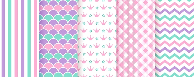 Scrapbooking background. seamless pattern. illustration. trendy pink green purple print.