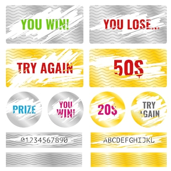 Scratch card game win lottery vector elements