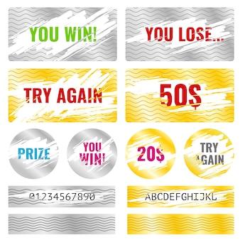 Игра с карточной карточкой выигрывает лотерейные векторные элементы