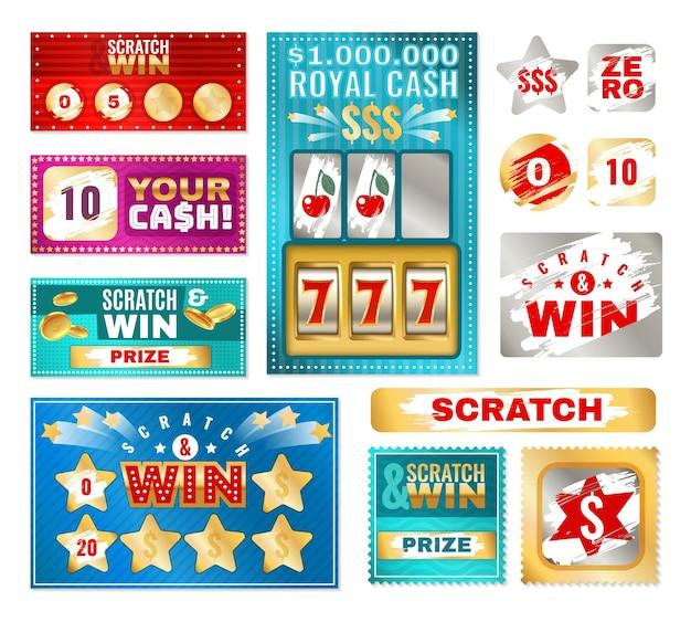 스크래치 카드. 카드 게임에 대한 즉석 복권. 긁힌 자국이 있는 행운의 승자와 패자 쿠폰, 은색 금속 효과가 있는 벡터 컬렉션