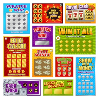 Scratch win cards set