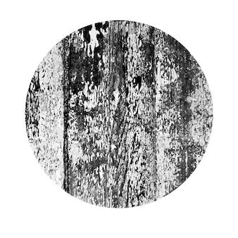 Поцарапанный круг. темная фигура с проблемной текстурой древесины гранж, изолированные на белом фоне. векторная иллюстрация.