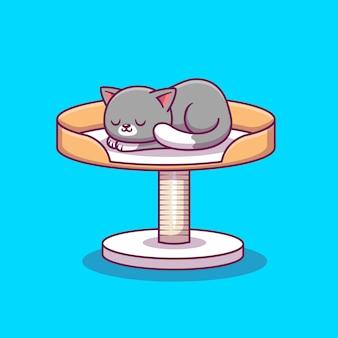 Милый кот спит на scratcher мультфильм значок иллюстрации. концепция животных значок изолированы. плоский мультяшный стиль