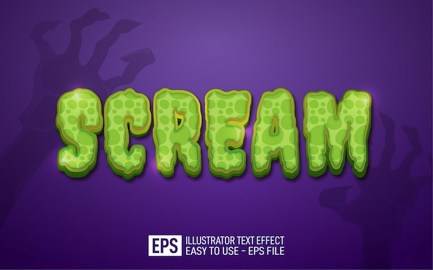 Scream 3d text editable style effect template