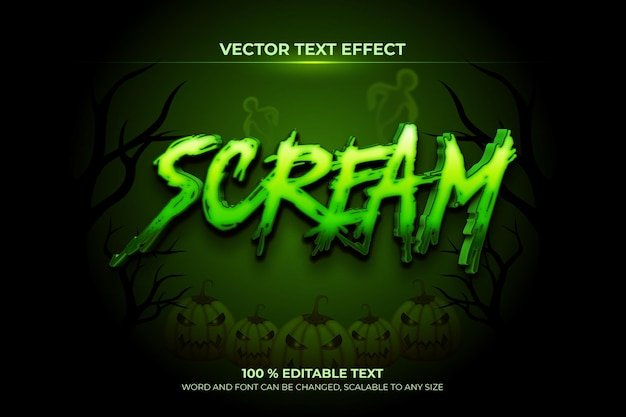 Scream editable 3d text effect with dark green jungle backround style