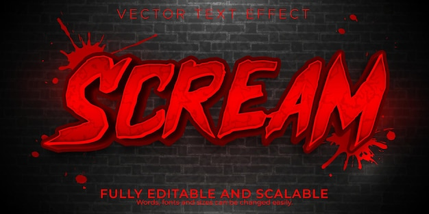Scream editable text effect, dead and scary text style