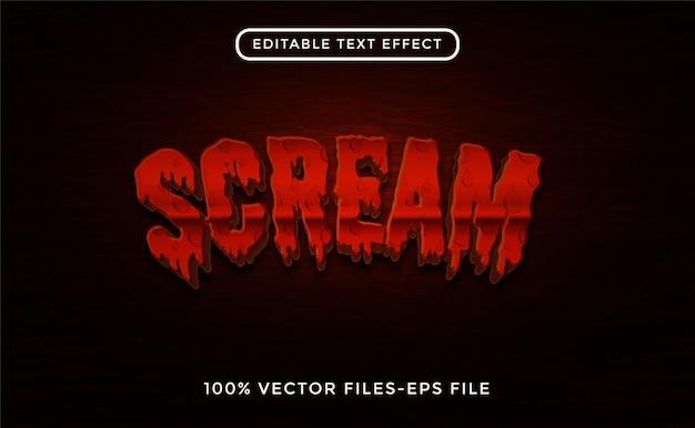 Scream editable text effect premium vectors