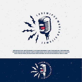 Scream microphone illustration logo template