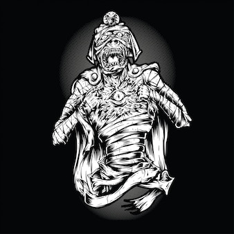 Scream mummy black and white illustration