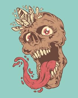 Крик череп с языком и иллюстрацией бриллиантов