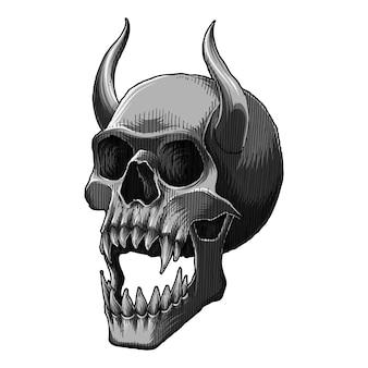 Screaming demon skull, monochrome illustration