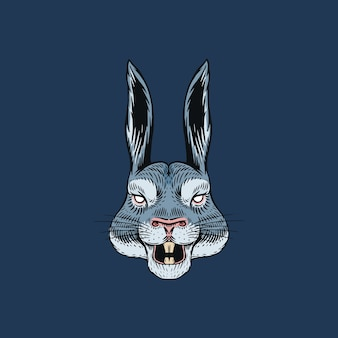 Screaming hare or mad rabbit for tattoo or label. roaring animal.