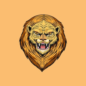 Screaming mad lion or leo. animal for tattoo or label. roaring beast. engraved hand drawn line art