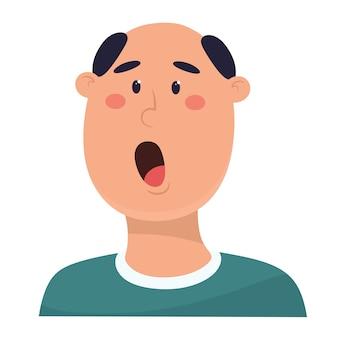 禿げ頭のイラストで叫んでいる男