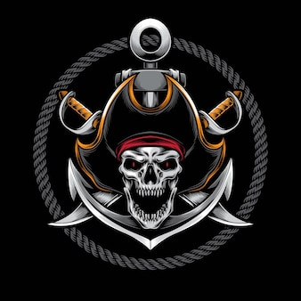 Screaming skull pirate  illustration