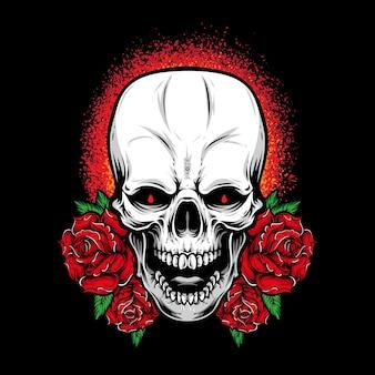 バラで叫ぶ頭蓋骨