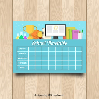 Screen, books and trophy with school timetable