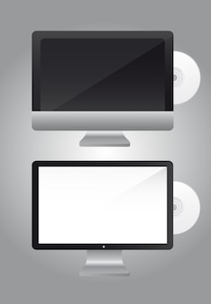 Screen computer with cd over gray