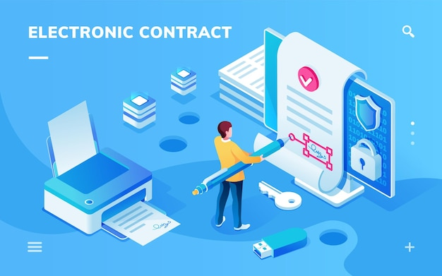 Screen for electronic contract or signature app