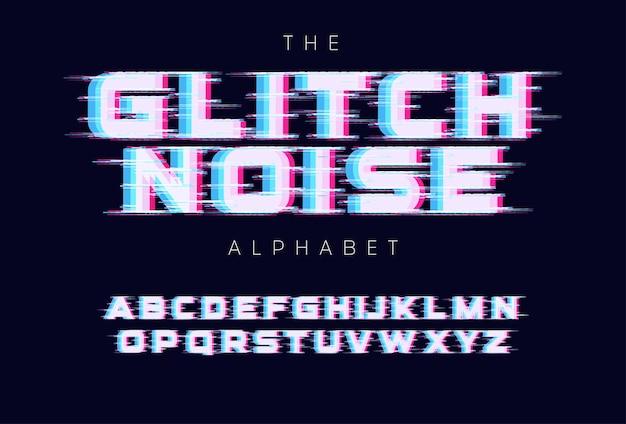 화면 결함 문자 집합입니다. 벡터 알파벳에 대한 신호가 없거나 잘못된 신호입니다. 글꼴에 대한 led 화면 rgb 오류 효과. 타이포그래피 디자인.