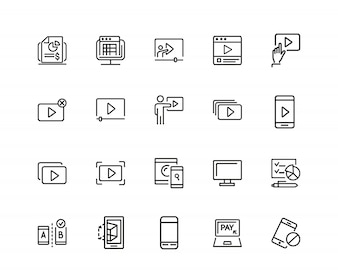Screen icons. Set of twenty line icons. Player window, mobile phone, laptop.