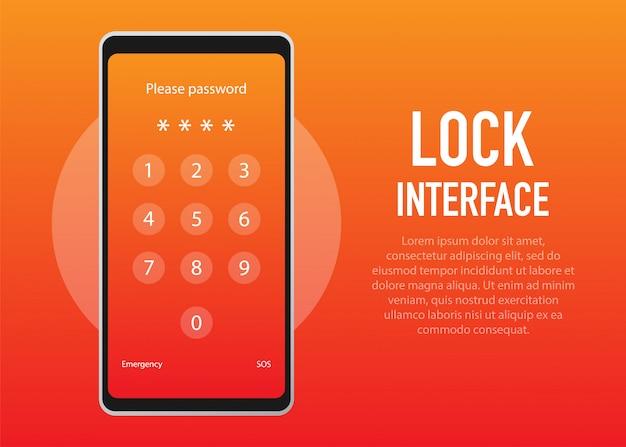 スクリーンロック。ロック画面またはパスワード入力ページのpinterface。