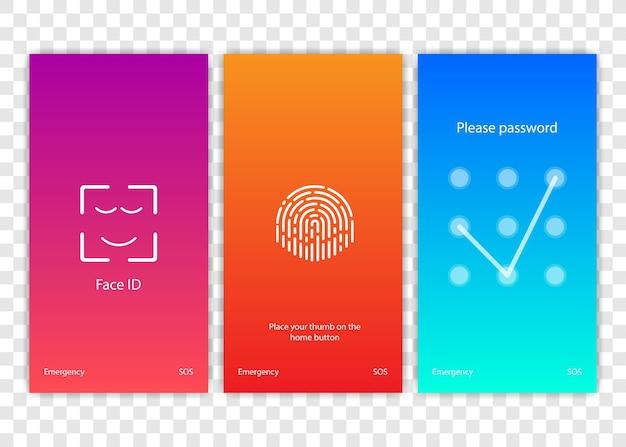 スクリーンロック。ロック画面またはパスワードページの入力用のpinterface。